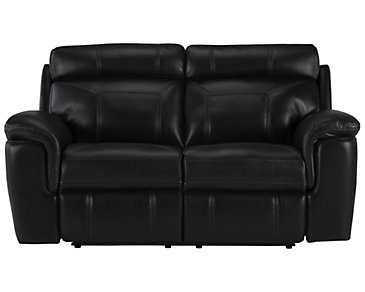 Gamma Black Microfiber Power Reclining Loveseat