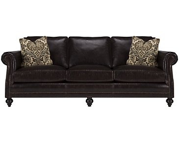 Brae Dark Brown Leather Sofa