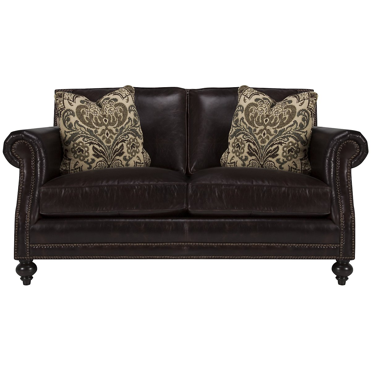 Brae Dk Brown Leather Loveseat