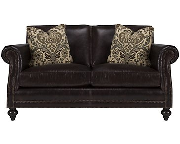 Brae Dark Brown Leather Loveseat