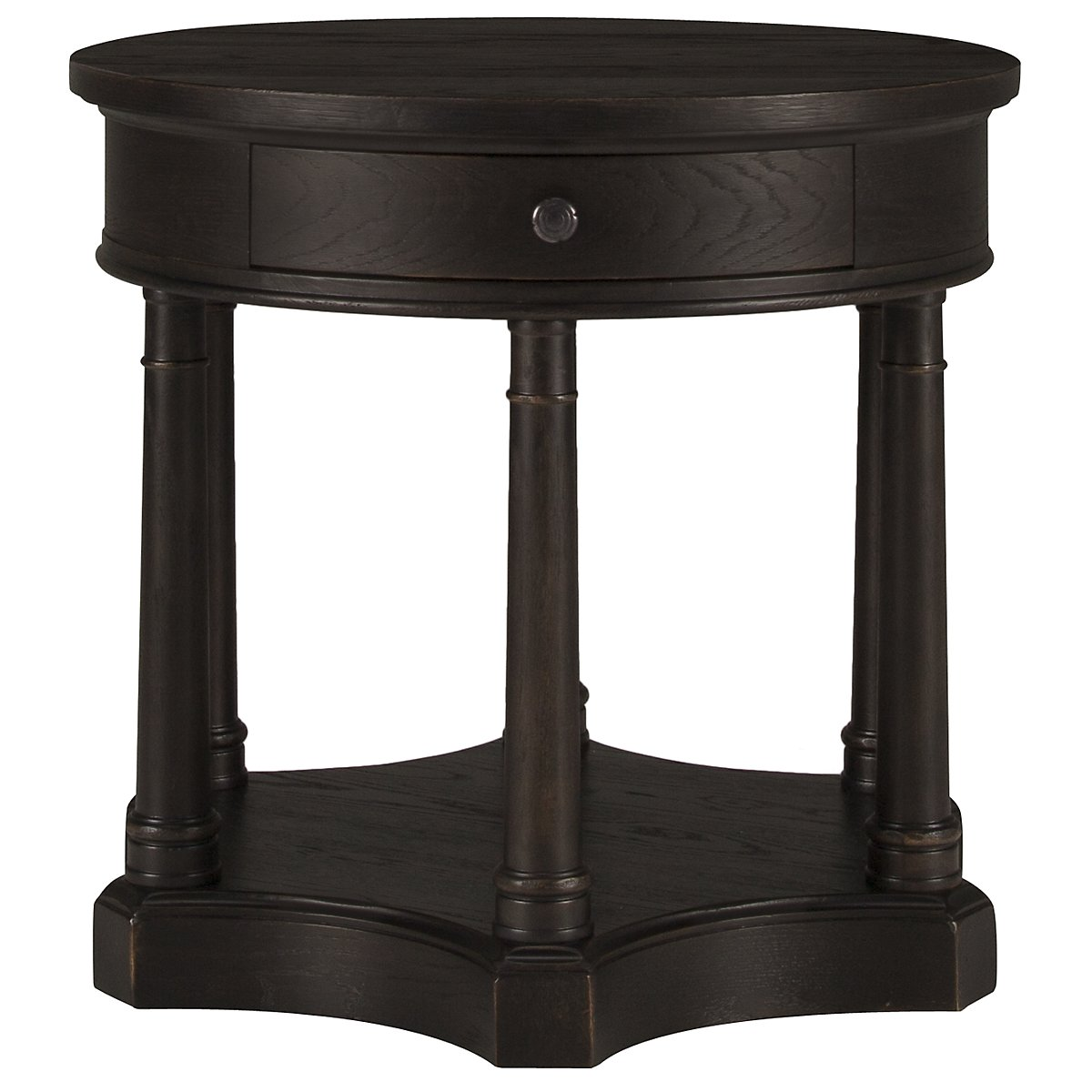 Belgian Oak Dark Tone Wood Round End Table