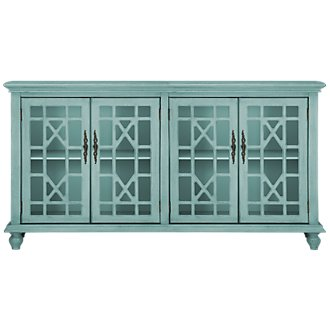 Alexis Teal Four-Door Cabinet