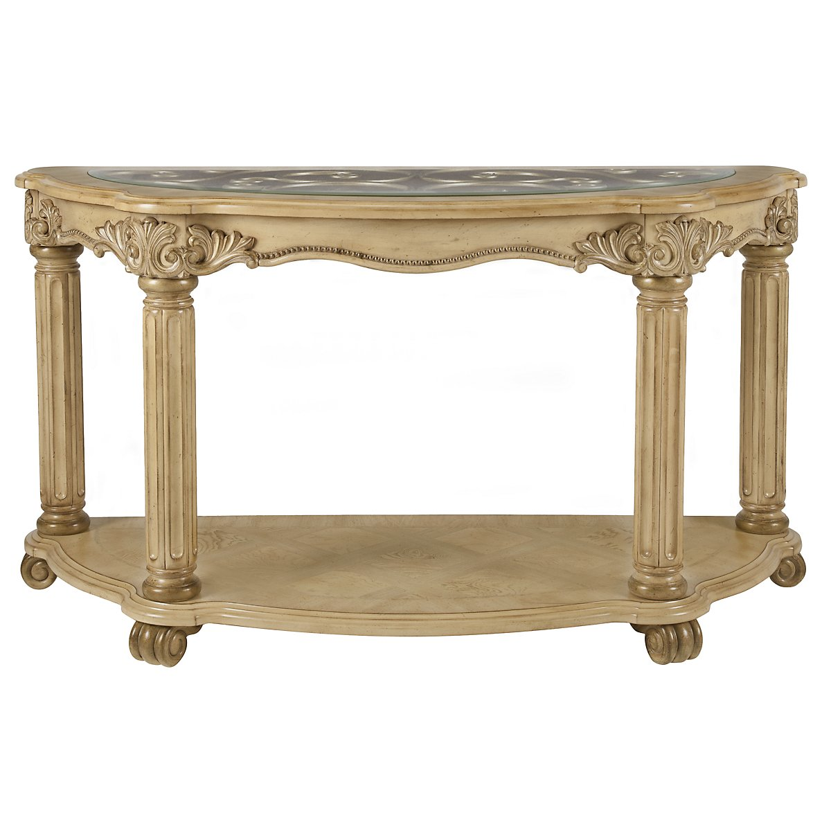 Regal Light Tone Glass Sofa Table