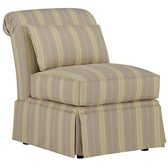 Jolie Light Green Stripe Accent Chair