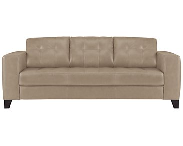 Elle Light Taupe Leather & Bonded Leather Sofa