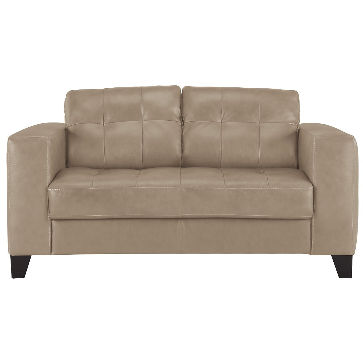 Elle Lt Taupe Leather & Bonded Leather Loveseat