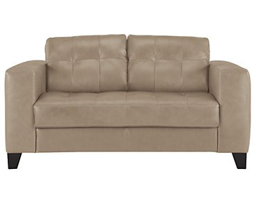 Elle Light Taupe Leather & Bonded Leather Loveseat