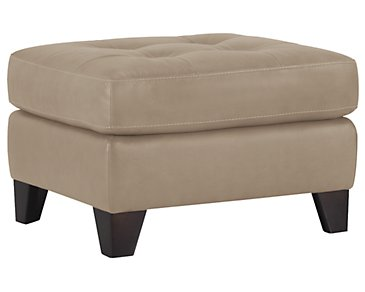Elle Light Taupe Leather & Bonded Leather Ottoman