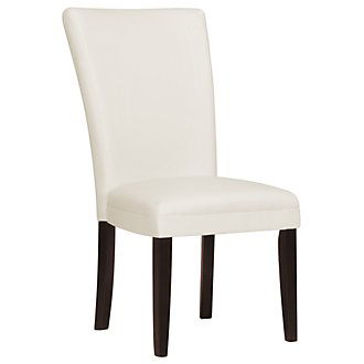 Delano White Bonded Leather Side Chair