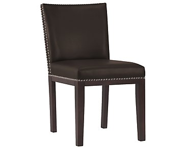 Tiffany Dark Brown Bonded Leather Side Chair
