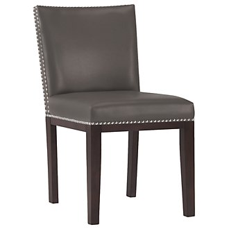 Tiffany Dk Gray Bonded Leather Side Chair
