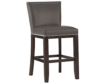 "Tiffany Dark Gray 24"" Bonded Leather Barstool"