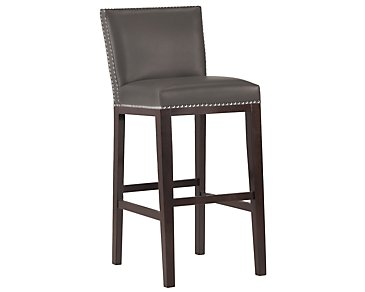 "Tiffany Dark Gray 30"" Bonded Leather Barstool"
