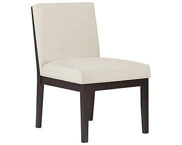 Emma White Bonded Leather Side Chair
