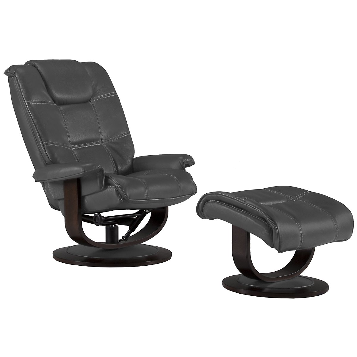 Regan Gray Microfiber Recliner & Ottoman