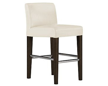 "Kyle2 Light Beige Bonded Leather 24"" Upholstered Barstool"