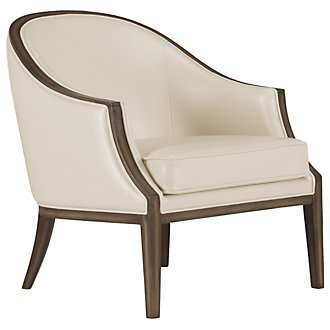 Kensie Light Beige Bonded Leather Accent Chair