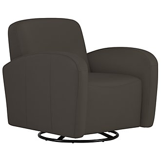 Axis Dk Gray Vinyl Swivel Accent Chair