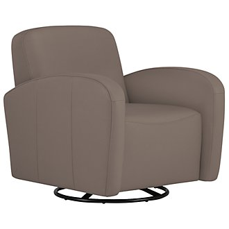 Axis Dk Taupe Vinyl Swivel Accent Chair