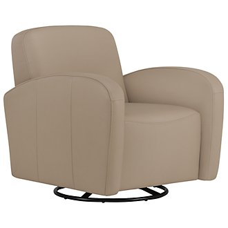 Axis Lt Taupe Vinyl Swivel Accent Chair
