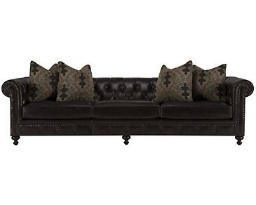 Riviera Dark Brown Leather Large Sofa