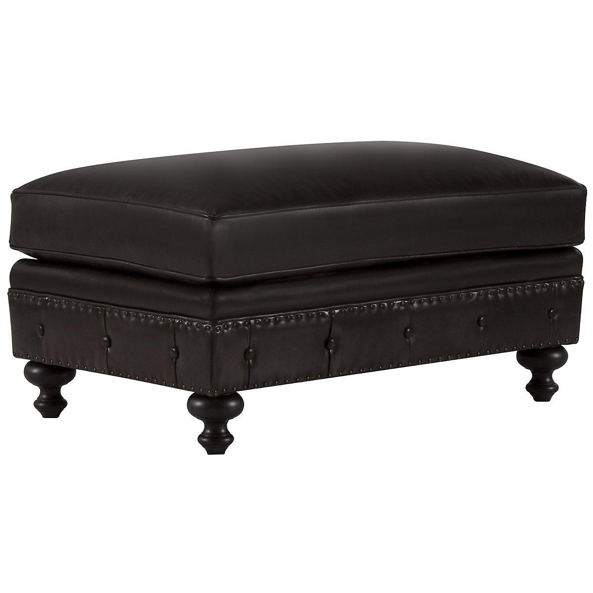 Riviera Dark Brown Leather Ottoman