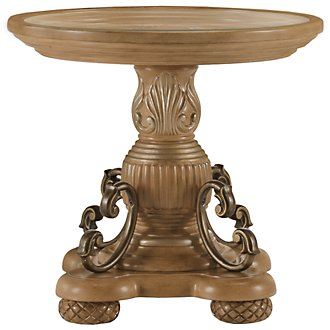 Tradewinds Light Tone Glass Round End Table