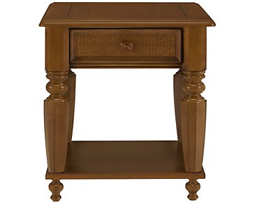 Claire Mid Tone Woven Storage End Table