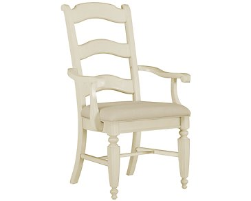 Claire White Wood Arm Chair