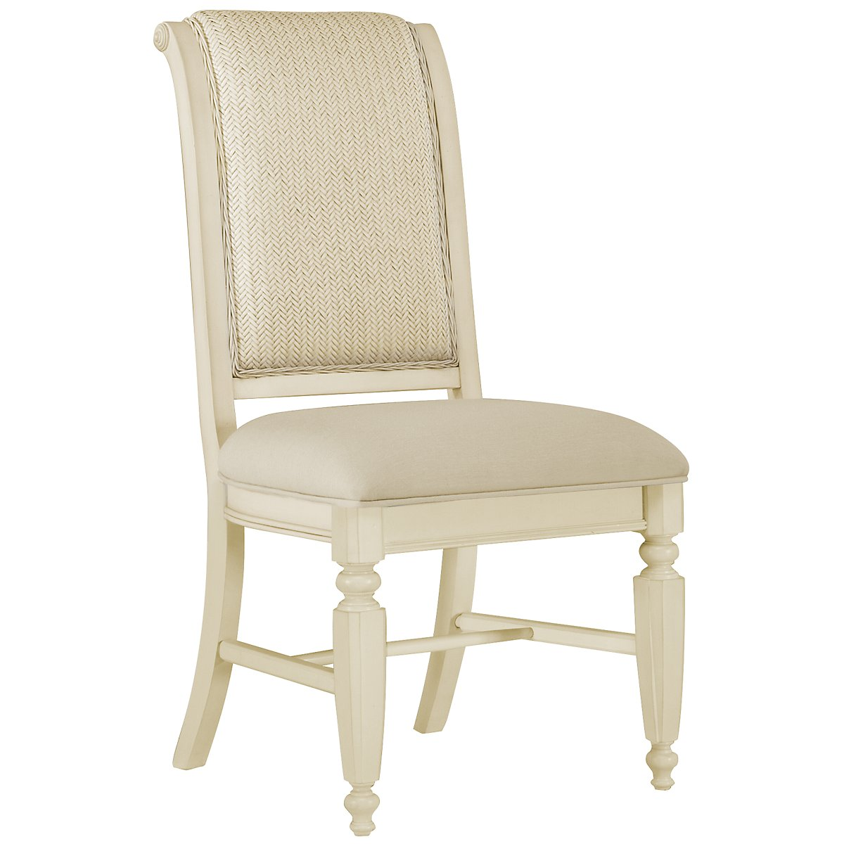 Claire White Woven Side Chair