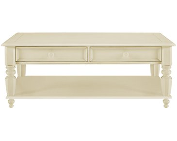 Claire White Storage Rectangular Coffee Table