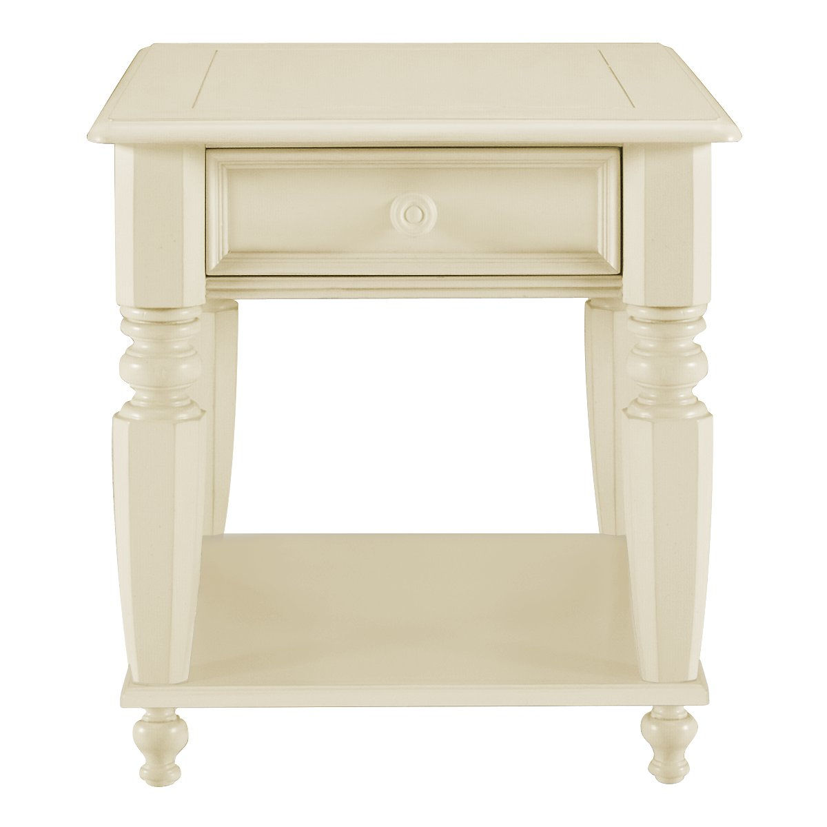 Claire White Wood Storage End Table