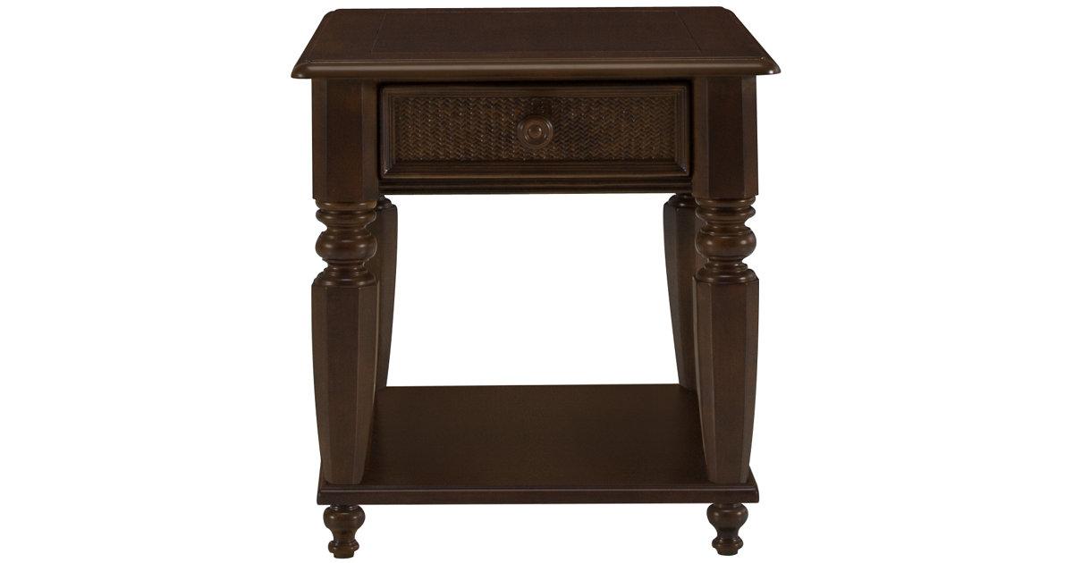 City Furniture Claire Dark Tone Woven Storage End Table