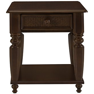 Claire Dark Tone Woven Storage End Table