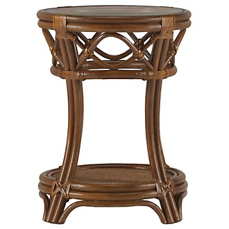 Chester Mid Tone Woven Round Chairside Table