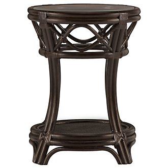 Chester Dark Tone Woven Round Chairside Table