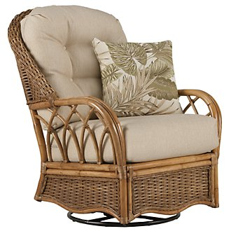 Glades Light Tone Woven Swivel Rocking Glider