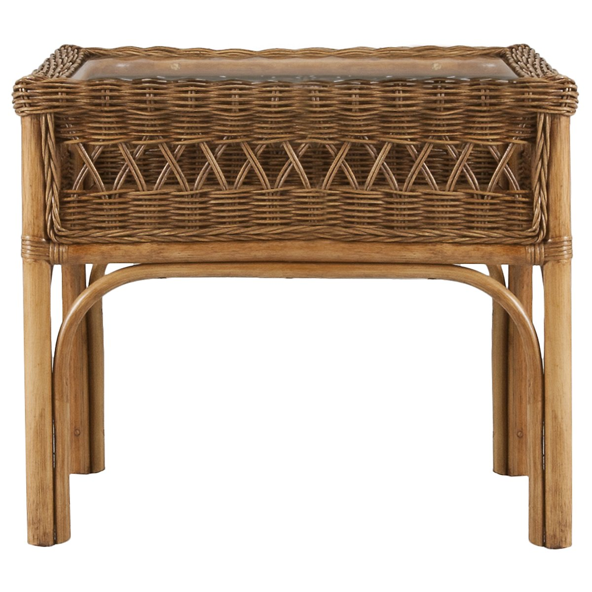 Glades Light Tone Woven Rectangular End Table