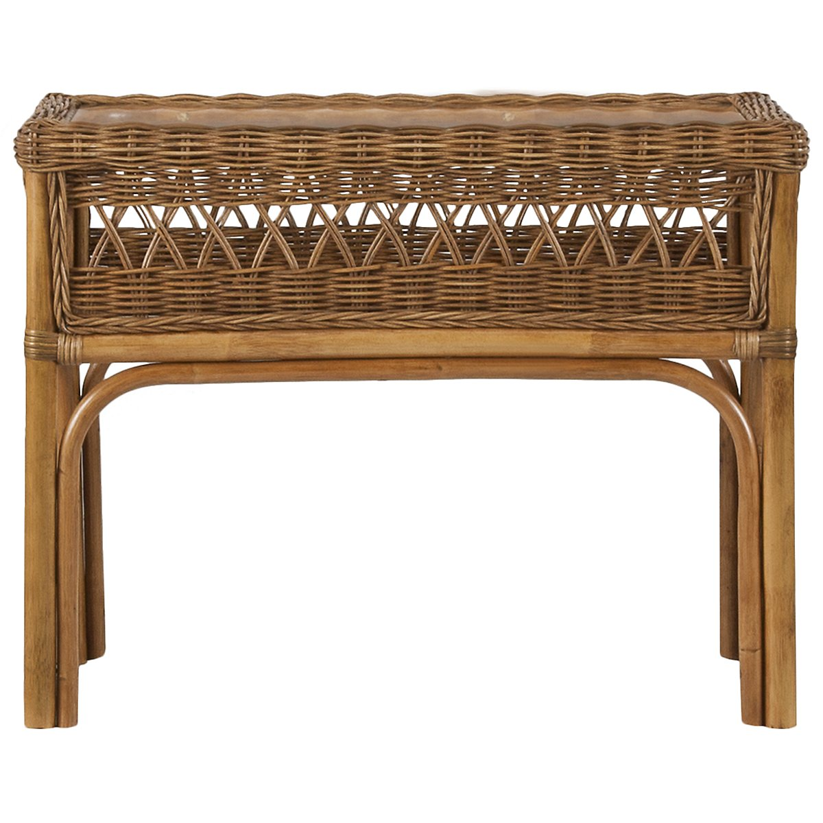 Glades Light Tone Woven Rectangular Chairside Table