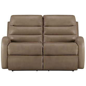 Carver Beige Microfiber Power Reclining Loveseat