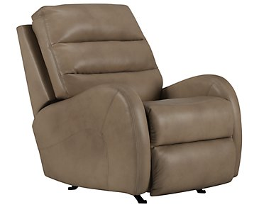 Carver Beige Microfiber Power Rocker Recliner