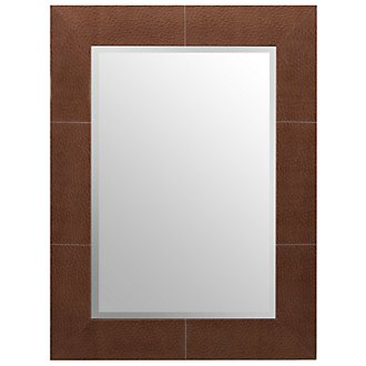 Ostrich Brown Leather Mirror
