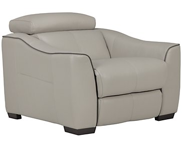 Alessi3 Light Gray Leather & Vinyl Power Recliner