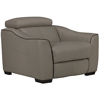 Alessi3 Dk Taupe Leather & Vinyl Power Recliner