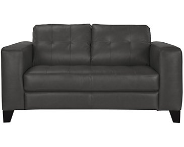 Elle Dark Gray Leather & Bonded Leather Loveseat