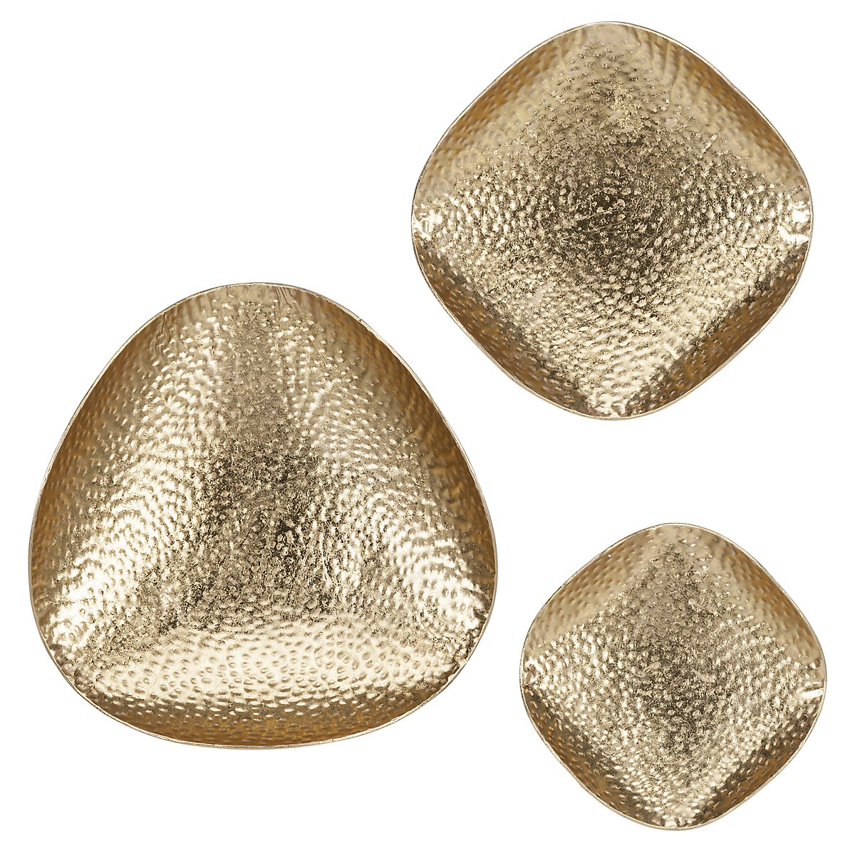 Hammered Gold Set Of 3 Metal Wall Art