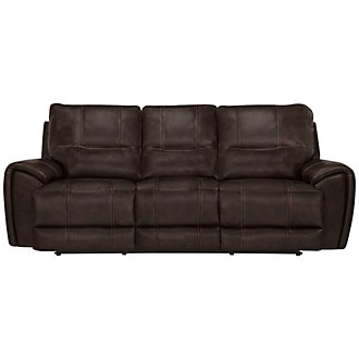 Nico Dk Brown Microfiber Power Reclining Sofa