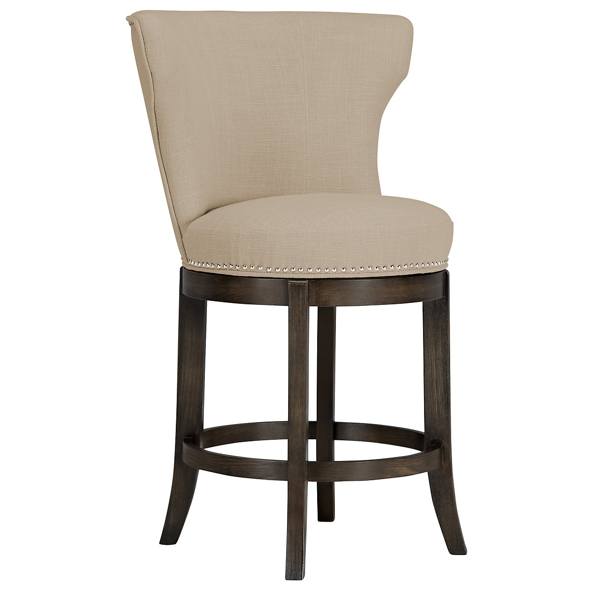 "Cayden Taupe Fabric 24"" Swivel Barstool"