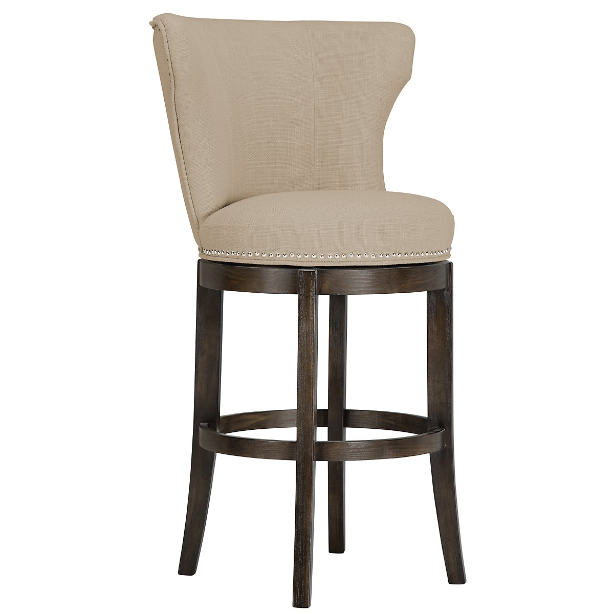 "Cayden Taupe Fabric 30"" Swivel Barstool"