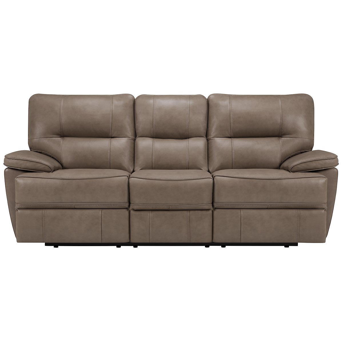 Clint Dk Beige Leather & Vinyl Reclining Sofa